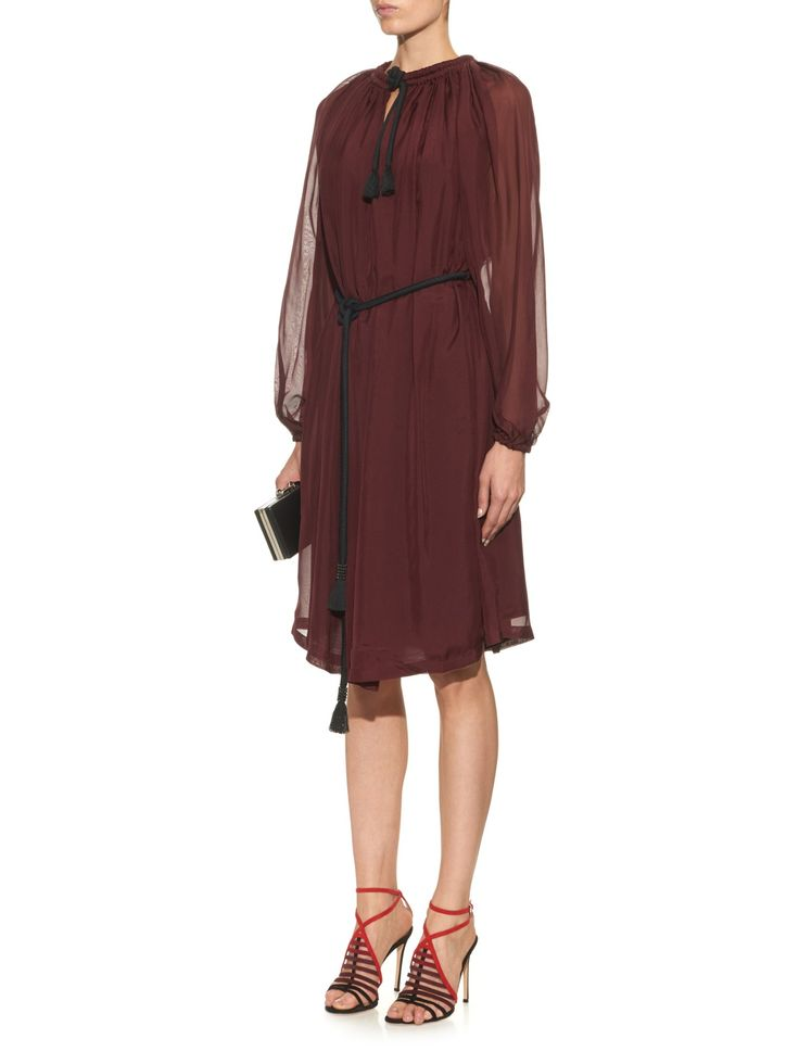 Long-sleeved rope-tie chiffon dress by Lanvin