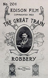 """L'attaque du grand rapide"" realise par Edwin S. Porter en 1903 est le premier western de l'histoire du cinema, on y retrouve tous les éléments du genre.                                                ""The great train robbery"" is a 1903 American  film by Edwin S. Porter, considered as the first western ."