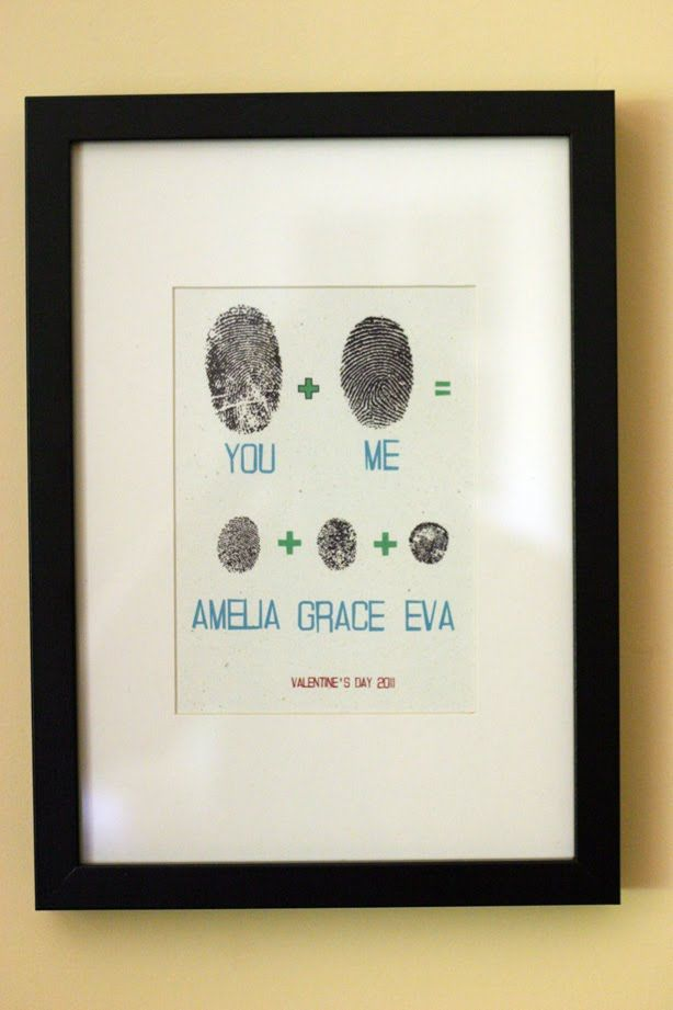 "You + me = fingerprint art.  This is adorable! I made this for my stairwell using yellow/grey/black color scheme. I added a quote that says: ""When someone touches your heart, they leave fingerprints on your sould""."