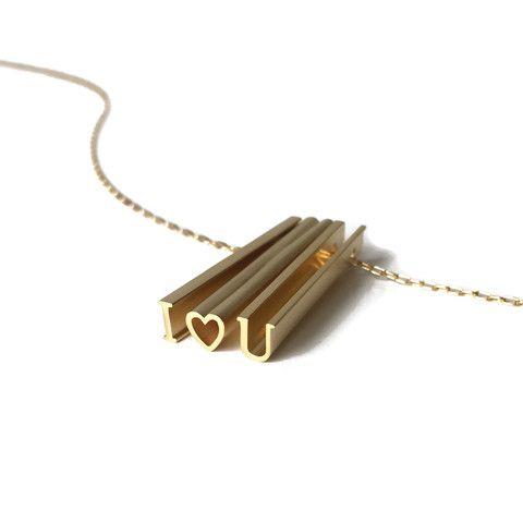 Beth Macri Custom Hidden Message Necklace I heart U Gold Vermeil Charm Pendant