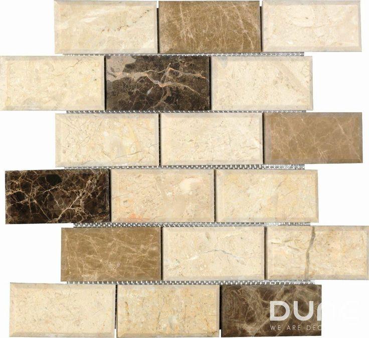 TOBLER 29.9x30.3: Mosaico que combina mármol beige, noce y emperador, compuesto por 18 piezas rectangulares con relieve convexo y teselas biseladas. #duneceramica #diseño #calidad #diferenciacion #creatividad #innovacion #tendencia #moda #decoracion #design #quality #differentiation #creativity #innovation #trend #fashion #decoration #duneemphasis #mosaico #piedra #mosaic #stone http://www.dune.es/es/products/emphasis-mosaico/stone-piedra/tobler/186889