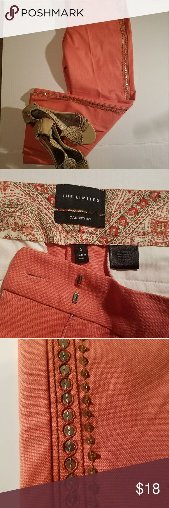 """The Limited capris cassidy fit in coral These like new  stunning coral Capri pants with embellished sides measure approx waist 15"""" length 32 materials 98% cotton 2% spandex dry clean  smoke free home The Limited Pants Capris"""