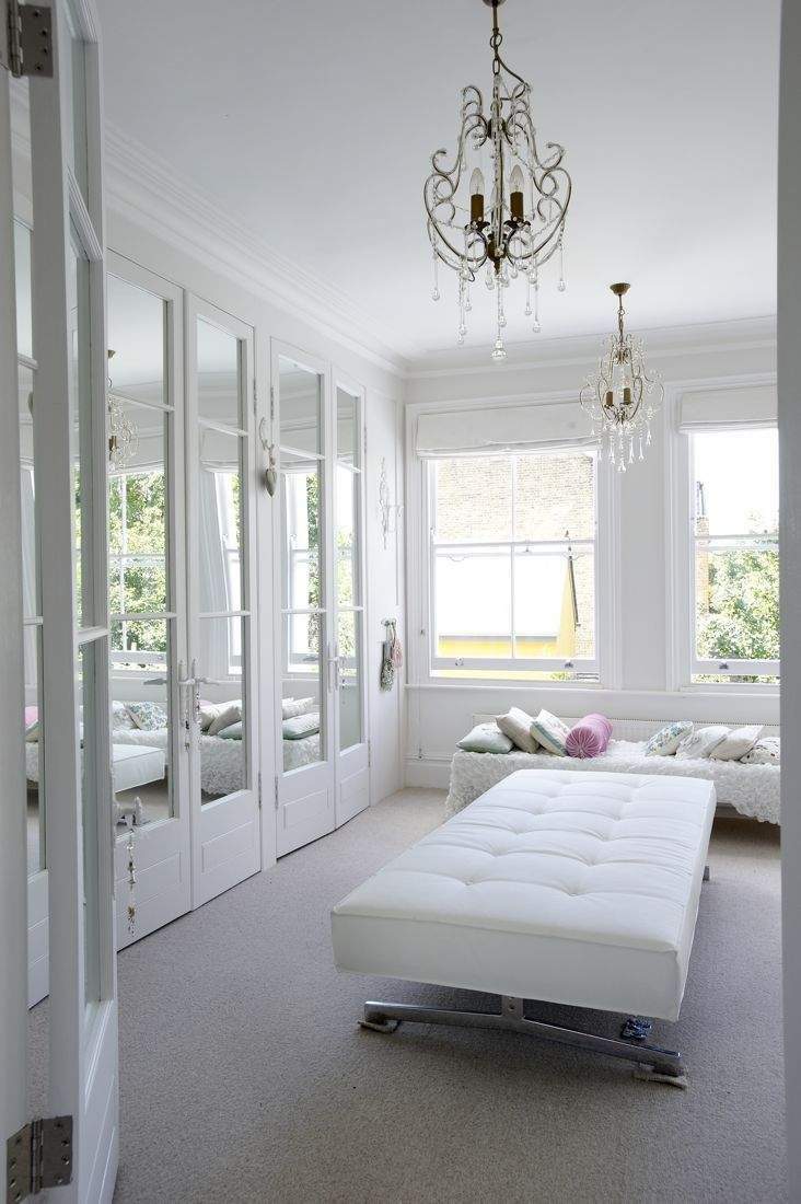 heavenly white dressing room - chandeliers & mirrors! full links and credits on The Paper Mulberry: Perfectly Pale