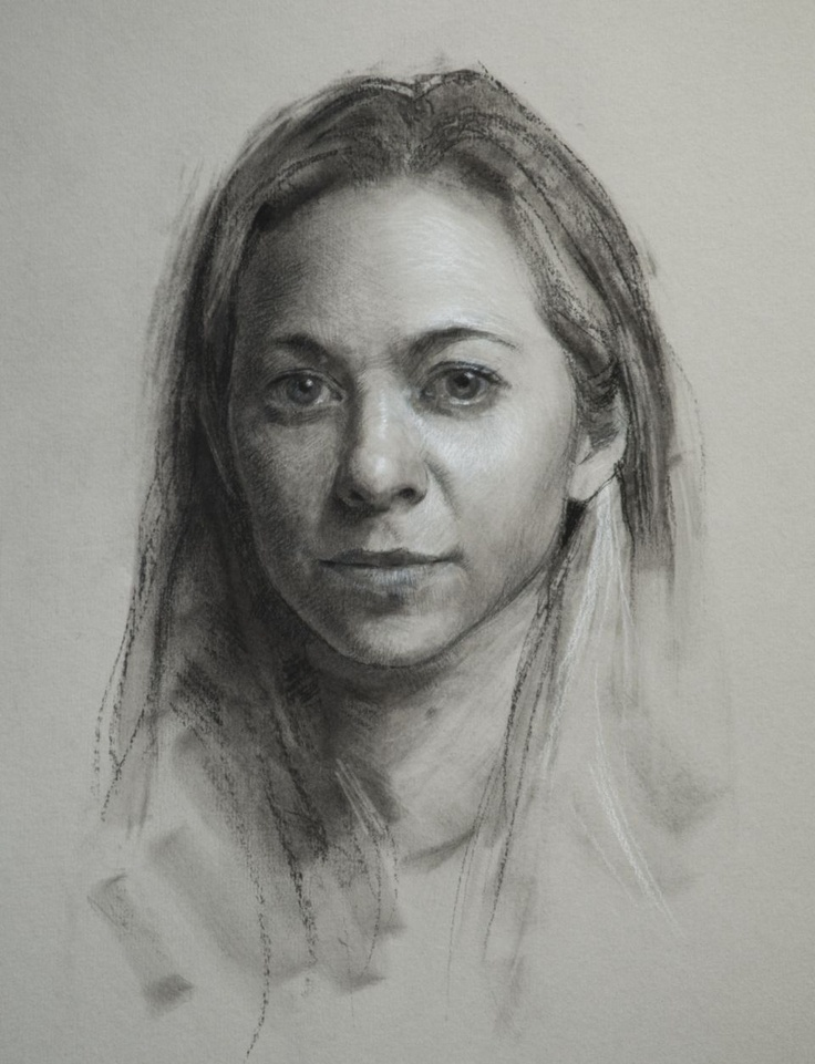 """""""Ingrid"""" by Jeff Hein, Pan pastel, charcoal, and white charcoal on toned paper. Salt Lake City, UT, Hein Academy of Art"""
