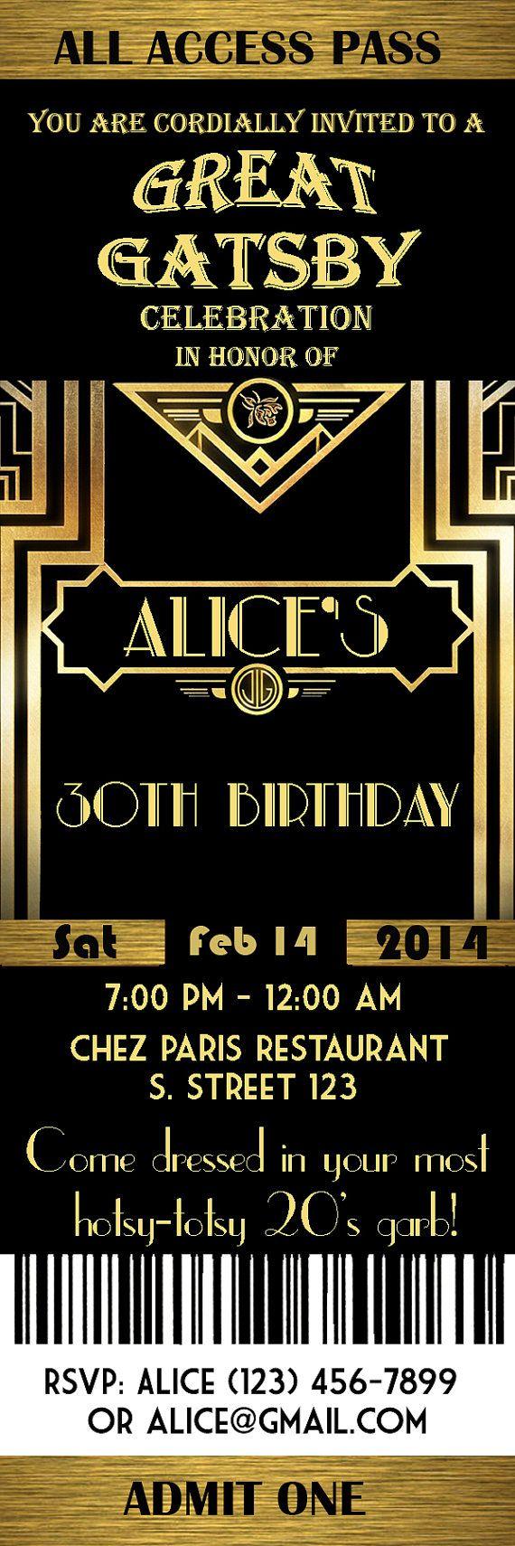 Gran Gatsby estilo Art Déco invitación fiesta fiesta por StudioDMD