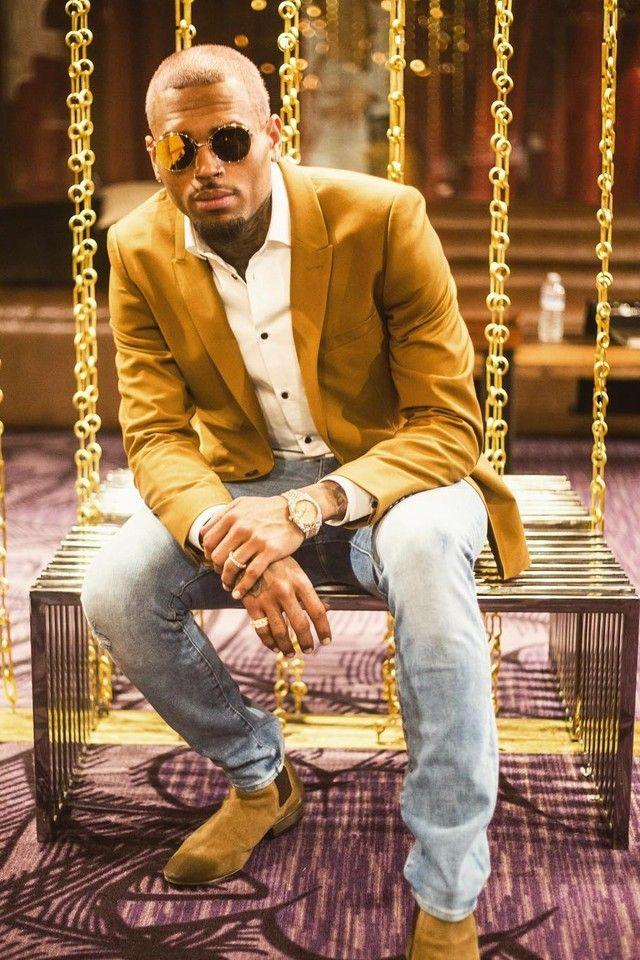 Chris Brown wearing  Saint Laurent Classic Chelsea Boot