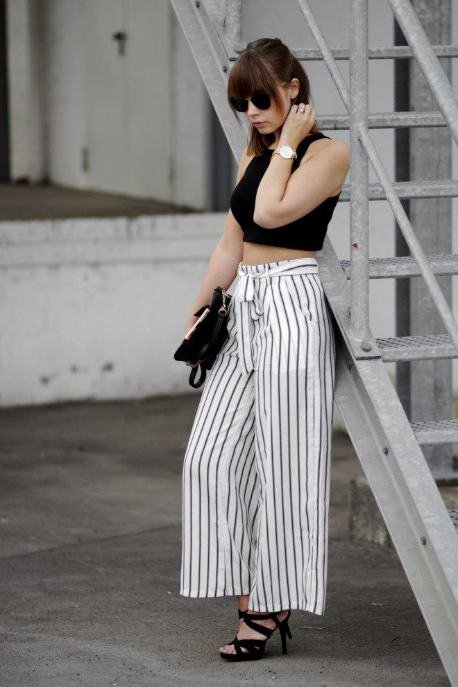 Striped Pants, wide leg pants, black and white outfit, crop top, minimal, outfit inspiration, bezauberndenana