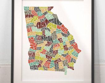Louisiana typography map louisiana map art louisiana by joebstudio