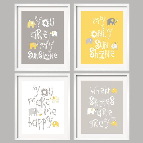 SALE Baby Decor Yellow grey Nursery art you are my by YassisPlace