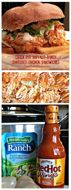 CROCK POT BUFFALO-RANCH SHREDDED CHICKEN SANDWICHES |  Only 3 Ingredients to make the chicken!!  These sandwiches are kickin' with flavor and a cinch to make. Great for wraps and salads too!! |  SweetLittleBluebird.com