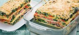 Zalm spinazie lasagne