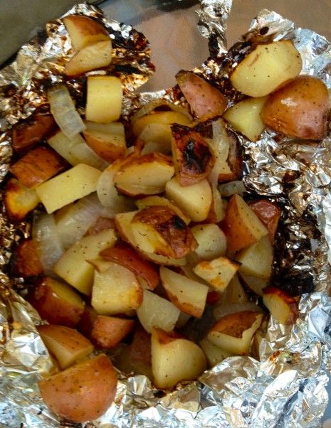Roasted Potatoes In a Foil Pack. I used the oven instead of the grill. 450 for an hour. I also put bell pepper, so delicious!