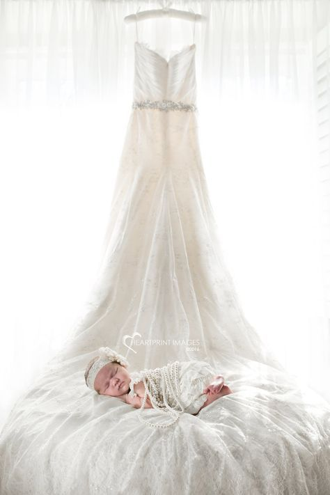 Newborn baby girl with Mom's wedding dress - Heartprint Images - Orange County, California custom maternity and newborn photography