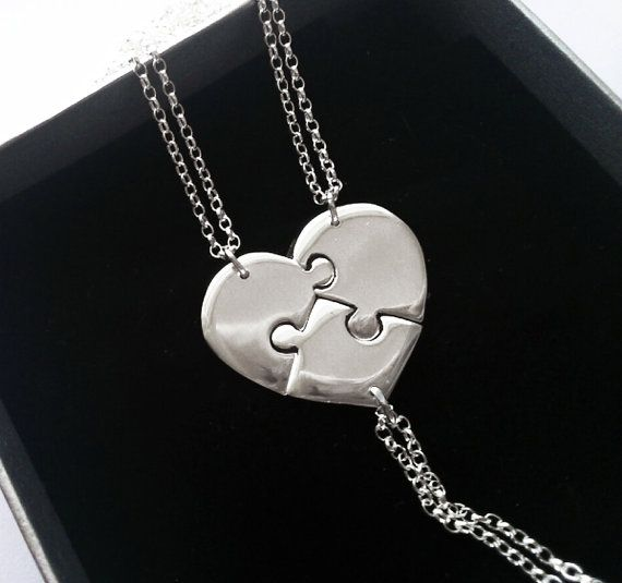 Three Best Friends Necklace, Puzzle Heart Necklace Pendant, Sister Necklaces on Etsy, $134.45