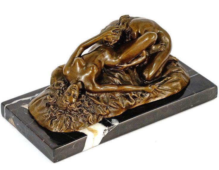 STATUE EN BRONZE 20cm SCULPTURE EROTIQUE LESBIENNES STATUETTE FIGURINE | eBay