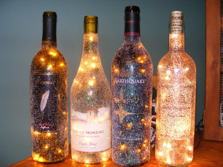 Here 39 s the 4 of them together that i did most recently for How to glitter wine bottles