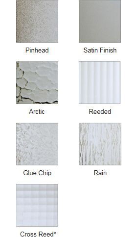 Obscure Glass Upgrade for Durabuilt windows - Durabuilt offers seven popular obscure glass patterns with varying levels of texture and privacy. Most often found in bathrooms and entry ways, obscure glass is available in tempered and heat-treated finishes to meet the demands of any projects or location.