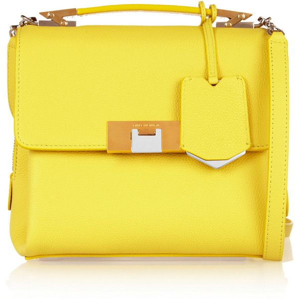Balenciaga Le Dix mini textured-leather shoulder bag ($1,680) ❤ liked on Polyvore featuring bags, handbags, shoulder bags, borse, pink, yellow handbag, structured purse, mini shoulder bag, yellow purse and yellow shoulder bag