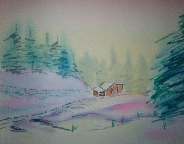 Зимнее утро, батик