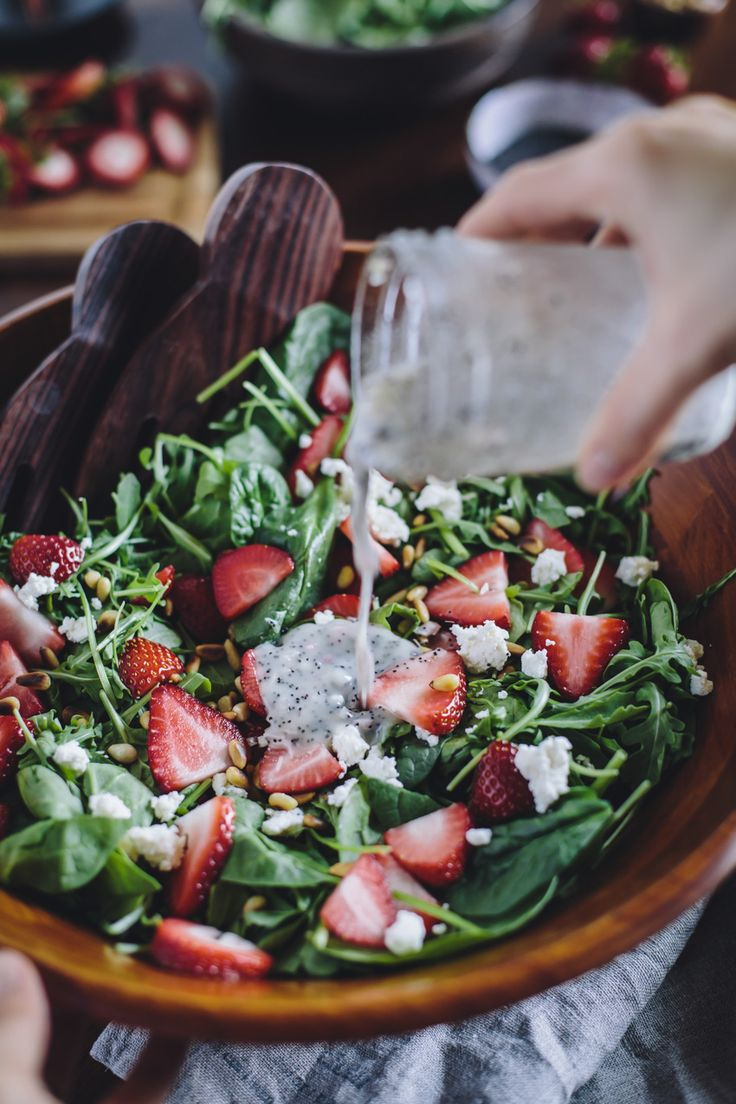 Strawberry, Spinach, and Arugula Salad with Lighter Poppy Seed Dressing - An easy to make vegetarian salad recipe that is perfect for spring.