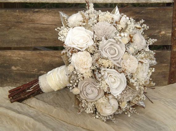 Gorgeous Wood Flower Bouquets You Can Keep Forever - Rustic Woodland Twig and Sola Flower Bride Bouquet with Champagne Accents