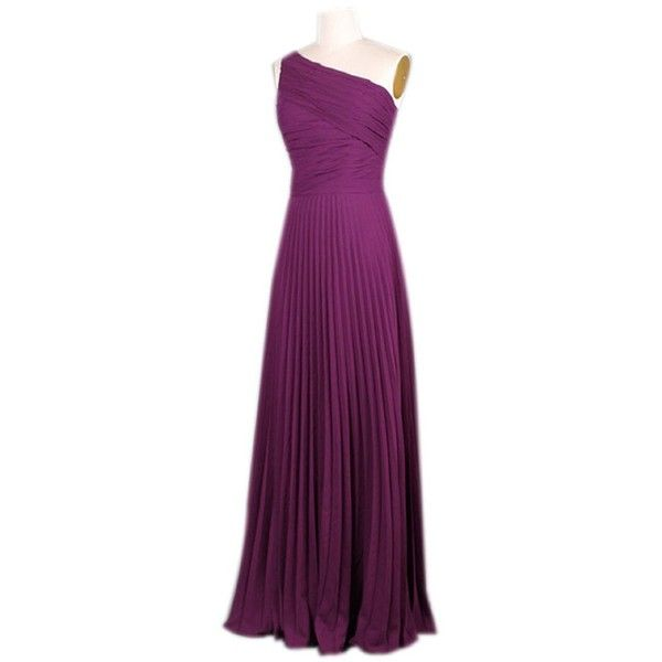Queenworld Women's One Shoulder Bridesmaid Evening Prom Dress ❤ liked on Polyvore featuring dresses, purple prom dresses, purple dress, one shoulder cocktail dress, purple evening dresses and holiday cocktail dresses