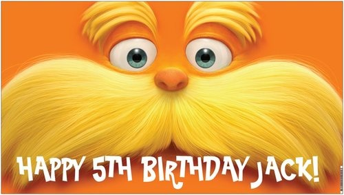 Custom Vinyl Dr. Seuss The Lorax Movie Birthday Party Banner Decorations - A beautiful showpiece for your child's birthday and a wonderful keepsake. Dimensions: 3' x 1.6' Printed on high quality, white 10oz. vinyl, which is flexible material with a matte finish and is fade-resistant, tear-resistant, and flame-retardant. Banners are professionally printed and are shipped rolled. Your banner will never be folded, so it will have no creases. $29.95