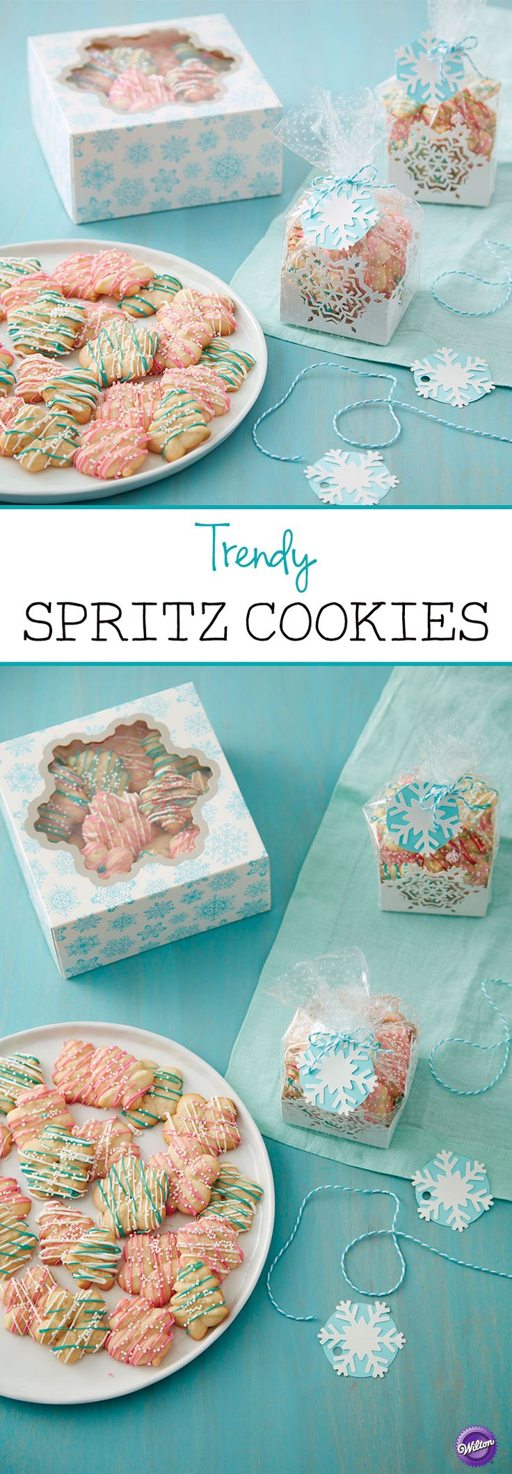 Trendy Spritz Cookies - The classic spritz cookies get a trendy makeover! These spritz cookies include the flavors of warm cinnamon, vanilla custard, and salted caramel. Make them not just for the holidays! This recipe makes about 10 dozen spritz cookies.