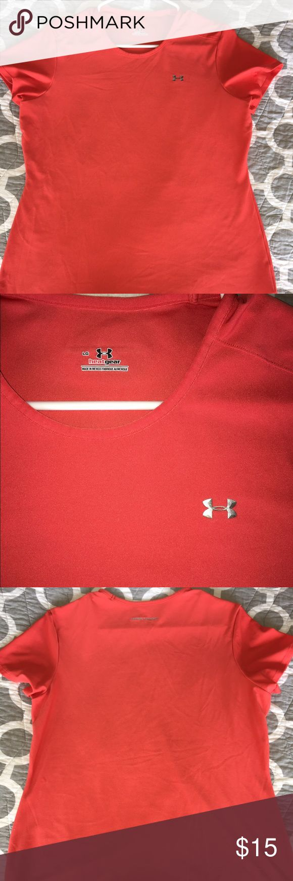 Under Amour heat gear size large coral tshirt Under Amour heat gear size large coral tshirt Under Armour Tops