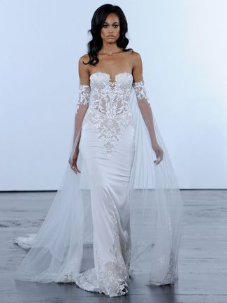 f56130167234 Pnina Tornai Fall 2018 wedding dresses with draped off-the-shoulder straps