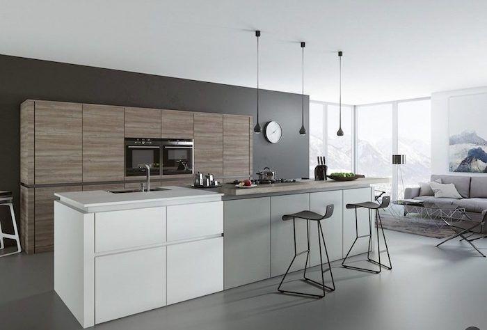 Une cuisine avec une version carreaux de ciment gris et ...