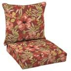 Hampton Bay Chili Tropical Blossom Welted 2-Piece Deep Seating Outdoor Lounge Chair Cushion Set