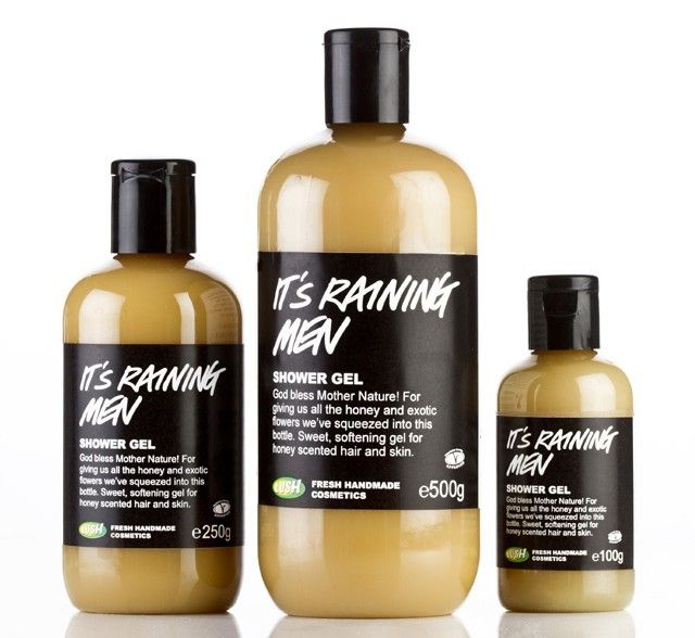 <3 <3 <3 The UK brand Lush's shower gel It's raining men has 3 different types of honey and loads of exotic flowers in it to make your skin feel so soft and smooth. Best part is that you can use it on your hair to make it soft and smooth! Can't shower without it.