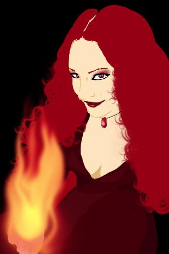 My own personal version of Melisandre made ​​with Photoshop.  The flat backgrounds, shadows, clean and no shades, I wanted to try this style on my part inspired by some advertising designs seen around in France and in some newspaper.