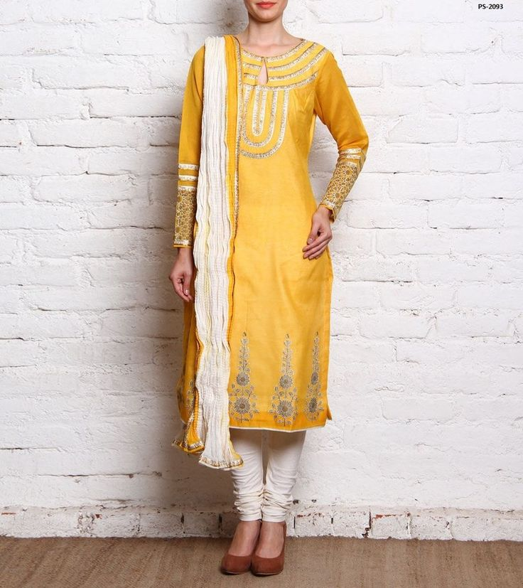 Mustard Yellow Silk Churidaar Dress Roka Ceremony Salwar Suit Plus Size PS-2093 #EthnicDresses #SalwarKameez