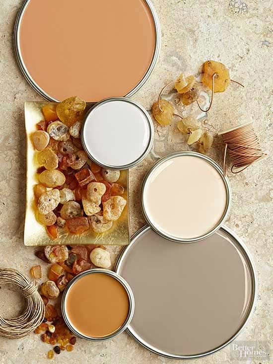 Terra-cotta, putty, khaki, taupe, and amber colors evoke images of rocky landscapes, prehistoric finds, and sandy deserts. Ranging from light to dark, the tones nicely play off one another to quietly add dimension to rooms meant for relaxing./