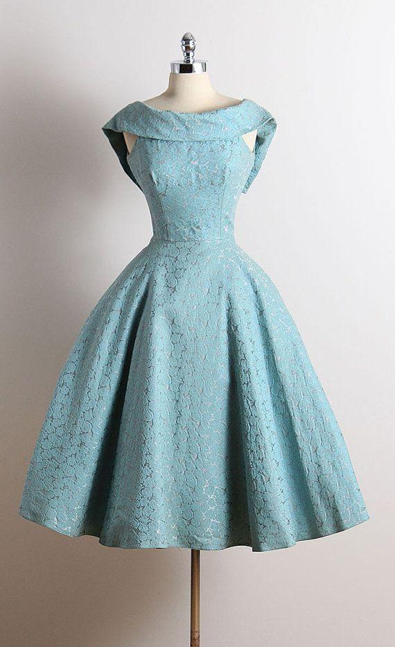 ➳ vintage 1950s dress * blue cotton faille * muslin lining * embossed rose print * dramatic folded collar * metal back zipper * full skirt