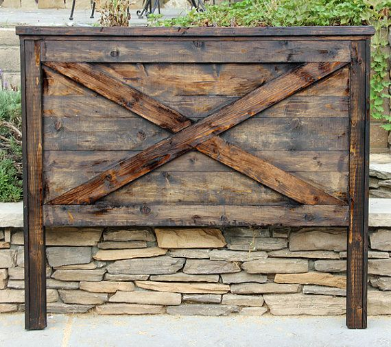 This etsy store is great for rustic furniture and is in SoCAL Barn Door Headboard By Foo Foo La La by FooFooLaLaChild on Etsy