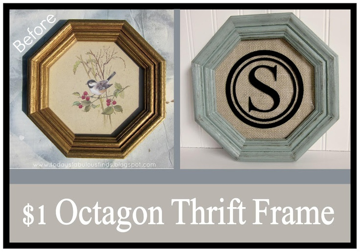 Today's Fabulous Finds: Monogrammed Thrift Frame (before and after): Monograms Thrift, Fabulous Finding, Monograms Frames, Frames Before, Today Fabulous, Diy Monograms, Thrift Frames, Crafts Stamps, Frames Ideas