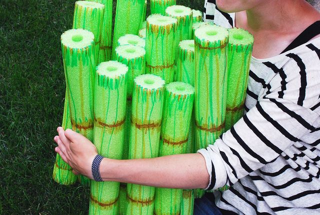 Make bamboo out of pool noodles and use Sharpies to decorate.