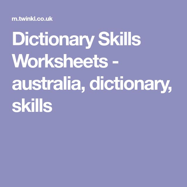 Dictionary skills worksheets free