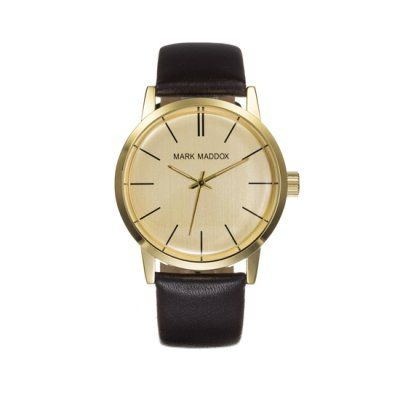 Mark Maddox - Men\'s Classic Leather PVD Gold Plated Watch - HC3009-46 - Online Price: £39.95