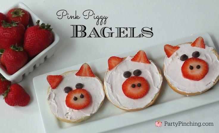 Pink piggy bagel breakfast, easy breakfast for kids via Party Pinching