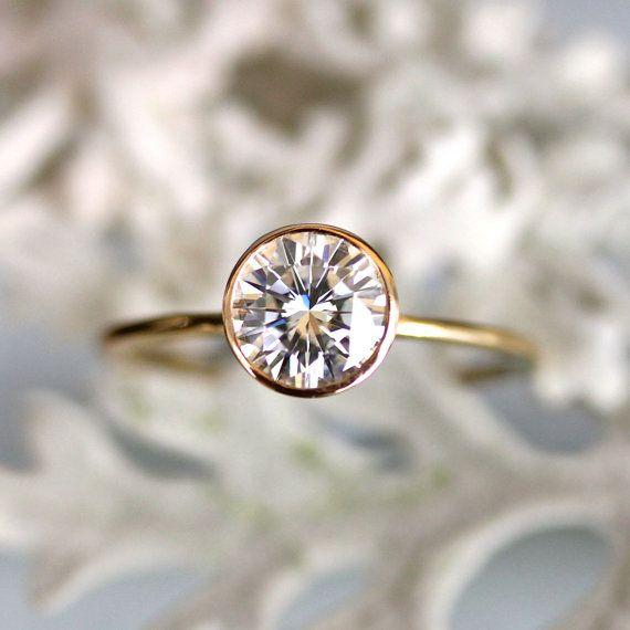 6.5mm Forever Brilliant Moissanite Engagement Ring In 14K Gold - Made To Order