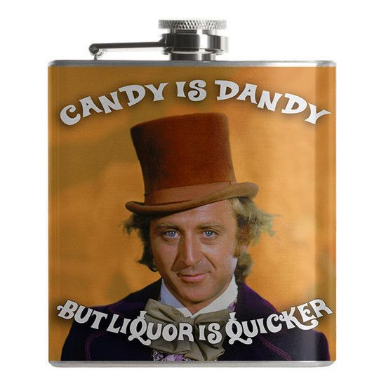 Willy Wonka Flask - Candy is Dandy but Liquor is Quicker! Follow us into a world of imagination at FalstaffTrading