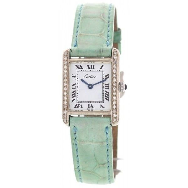 Pre-owned Cartier Must De Argent Case Vintage Ladies Watch ($1,799) ❤ liked on Polyvore featuring jewelry, watches, vintage wristwatches, preowned jewelry, buckle watches, roman numeral jewelry and white face watches