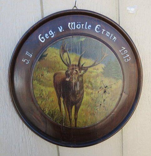 Antique Wooden Hunting Target Bugling Stag Elk German 1913 Cabin