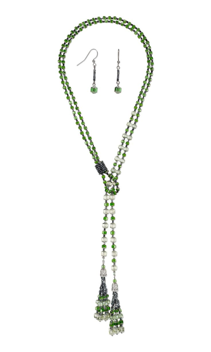 Jewelry Design   Lariat Style Necklace And Earring Set With Czech Glass  Beads And Seed