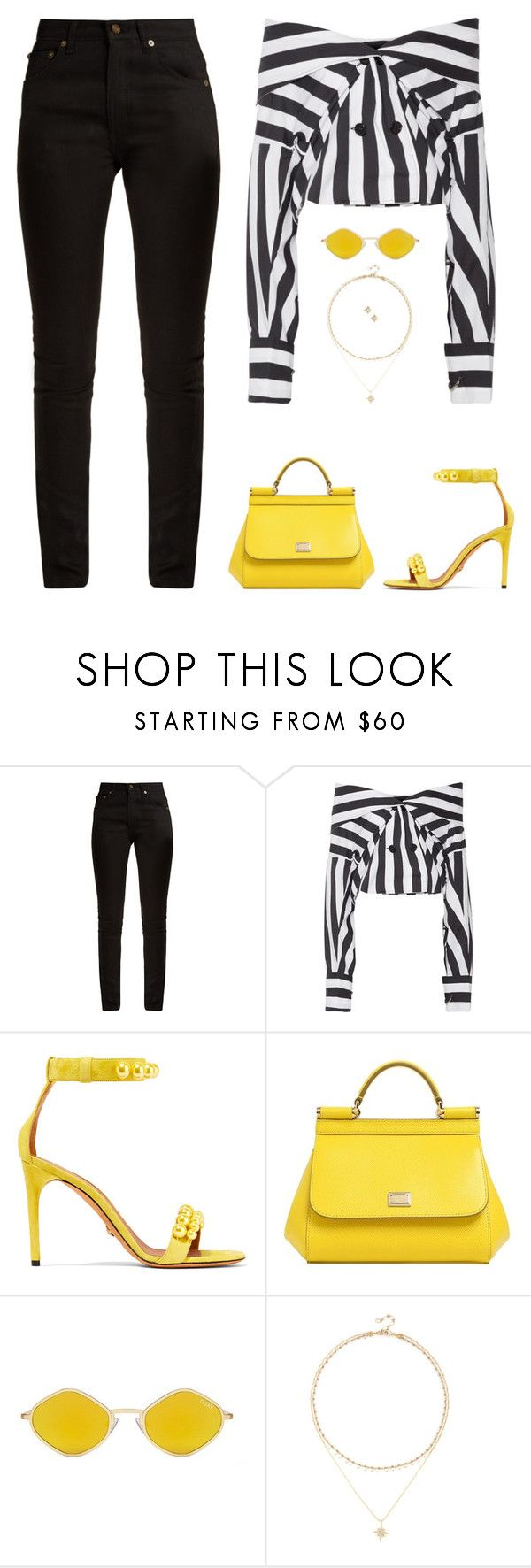 """""""Untitled #5052"""" by mdmsb on Polyvore featuring Yves Saint Laurent, Marques'Almeida, Givenchy, Dolce&Gabbana, Quay and Sole Society"""