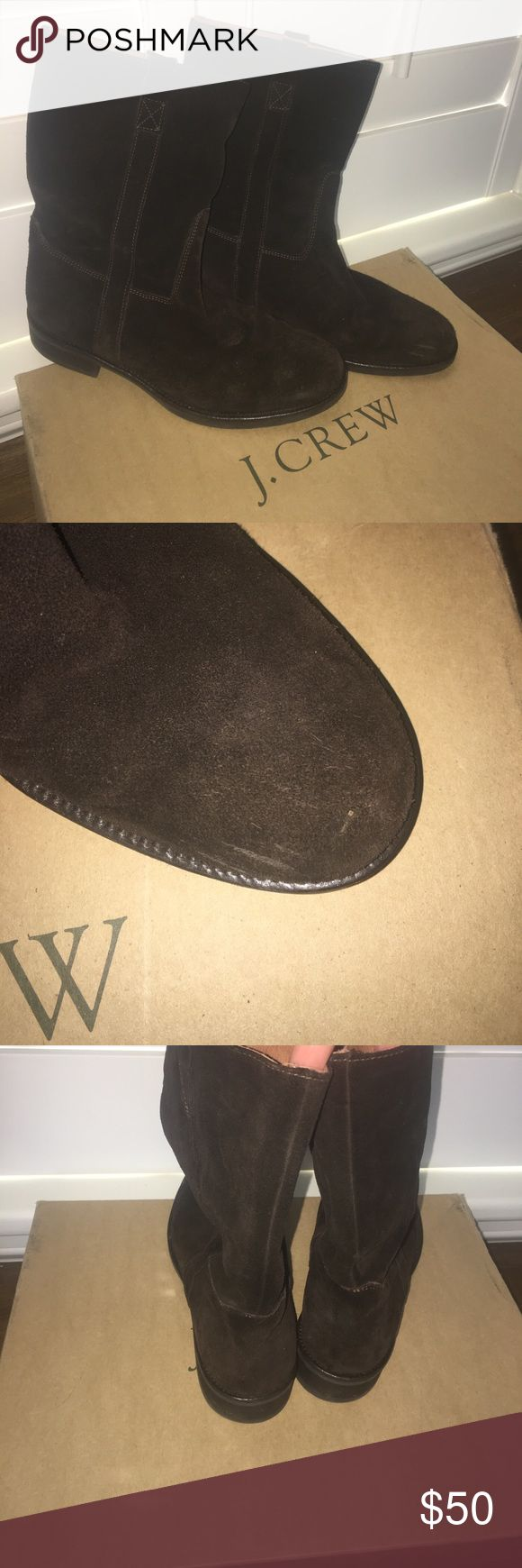 J Crew Short Brewster Suede Boots Worn just a couple of times - slight mark on left toe - see pic - J Crew Short Brewster Suede flat boots in espresso.  Size 9 J Crew Shoes Winter & Rain Boots